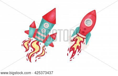 Bright Space Rocket With Reactive Booster Vector Set