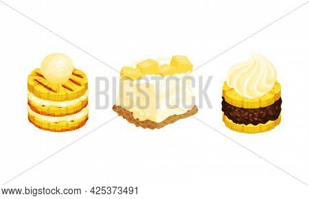 Pineapple Exotic Desserts With Whipped Cream Vector Set