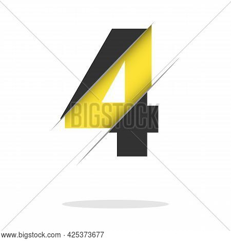 Number 4 Logo. Vector Logotype Design. Abstract Icon.
