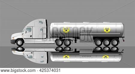 Modern American Car With A Semi-trailer Tank For Transportation Of Liquid Biohazardous Waste. Biohaz