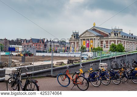 26 June 2021, Amsterdam, The Netherlands,  Construction Site In The Museum Square With The Royal Con