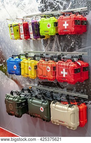 Medical First Aid Kits. Stand With First Aid Kits At The International Exhibition Arms And Security