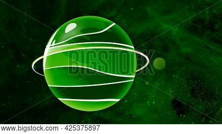 Animated Planet Moves On Background Of Green Space. Motion. Cartoon Planet Is Moving In Colored Oute