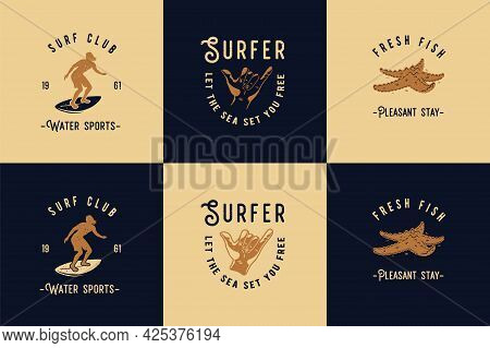 Surfing Style For T-shirt Print. Surfbord For Surf Surfer. Tropical Surf Bord For Exotic Tiki Bar Or