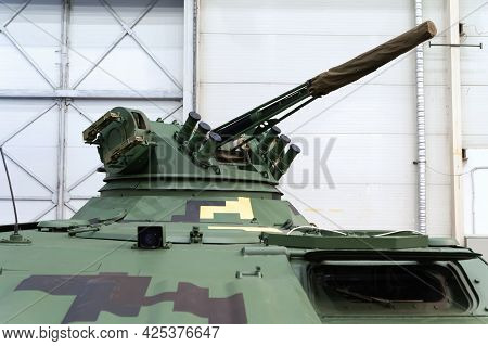 Infantry Fighting Vehicle. A Combat Artillery Module Of A Gooseneck Armored Vehicle Of A Tank At The