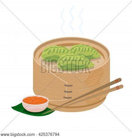 Green Momo Dumplings In Wooden Steamer Basket. Vegetable Spinach Steam Momos. Green Dumplings With C