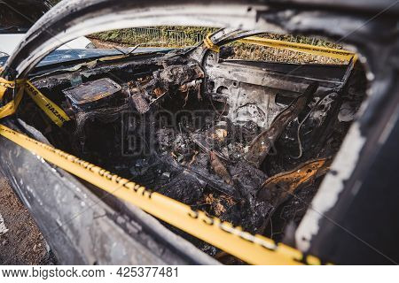 London | Uk - 2021.06.12: Interior Of An Abandoned, Stolen Burnt Out Blue Car Parked On The Sideway