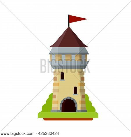 Knight Fortress. Concept Of Security, Protection And Defense. Cartoon Flat Illustration. Military Bu