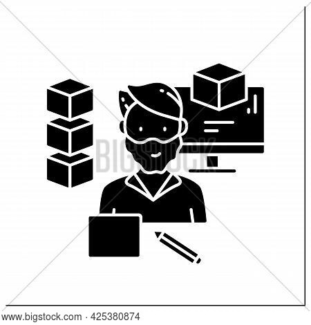 Modeling Glyph Icon. Man Created 3d Models On A Laptop.computer Graphics.digital Representation Of A