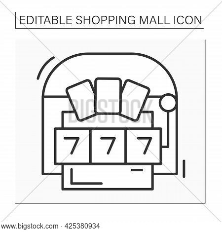 Casino Line Icon. Gambling Gaming. Hosting Live Entertainment Area. Shopping Mall Concept. Isolated