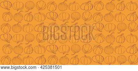 Vector Seamless Pattern With Different Hand Drawn Pumpkins In Outline. Autumn Orange Background In W