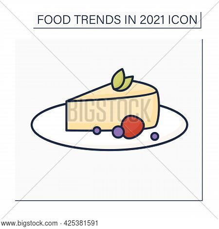 Cheesecake Color Icon. Basque Burnt Dessert. Crustless Cheesecake. Food Trends Concept. Isolated Vec