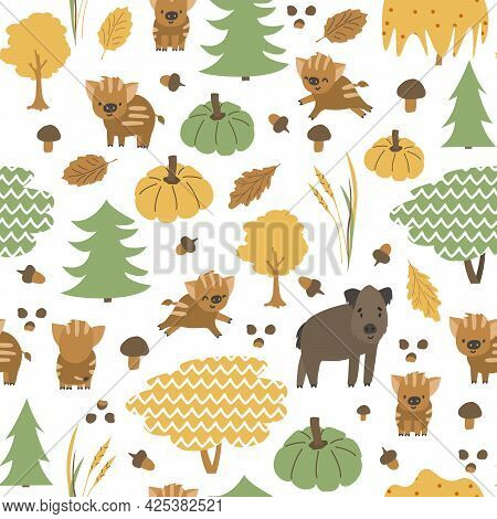 Boar Family Is In The Forest Seamless Pattern. Autumn Hog, Little Piglets Animals Are Happy. Vector