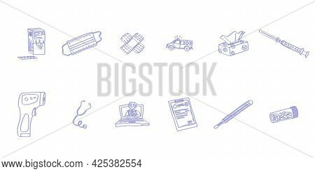 A Selection Of Sketches Medicine Hospital Simple Drawings. Doodle Sketch Image Stock