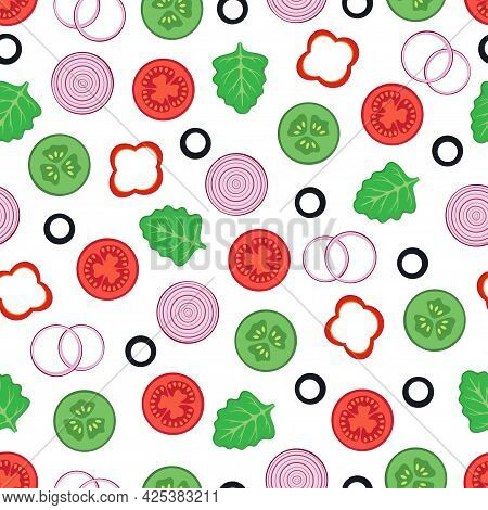 Cute Seamless Pattern Vegetables Food Isolated On White Background, Vector Flat Illustration With Le