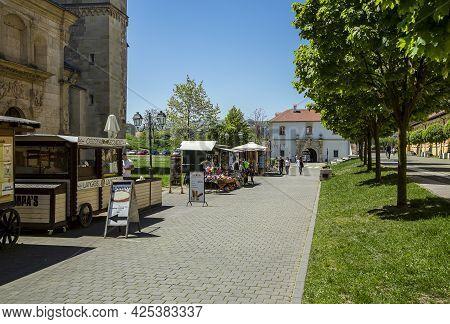 Alba Iulia, Alba, Romania -  May 11, 2021: Commercial Area In The Alba Carolina Citadel, Alba Iulia,