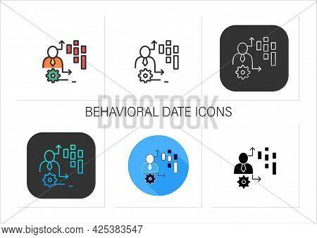 Behavioral Date Icons Set.observation Insights Into Consumers Behavior On Platforms, Online Games, W