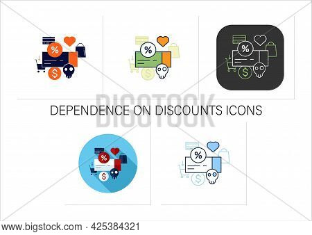 Dependence On Discounts Icons Set. Sales. Discounts Love. Mindful Spending Concept.collection Of Ico
