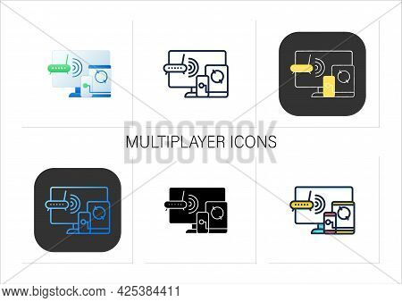 Multiplayer Icons Set. Wifi, Computer, Phone. Synchronically. Wireless Equipment. Cross Platform Mul