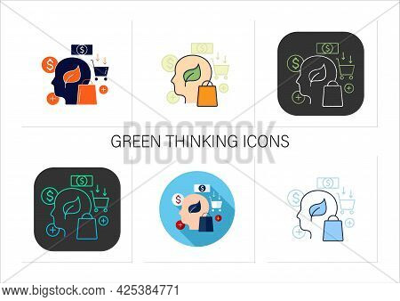 Green Thinking Icons Set.conscious Consumption. Thinking About Nature. Ecological Shopping. Thoughtf