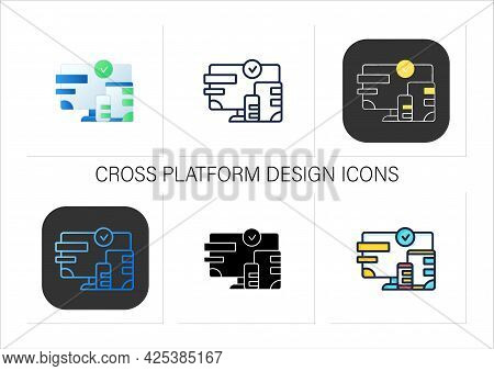 Multiplayer Icons Set. Technical Devices. Wifi, Computer, Phone. Synchronically. Wireless Equipment.