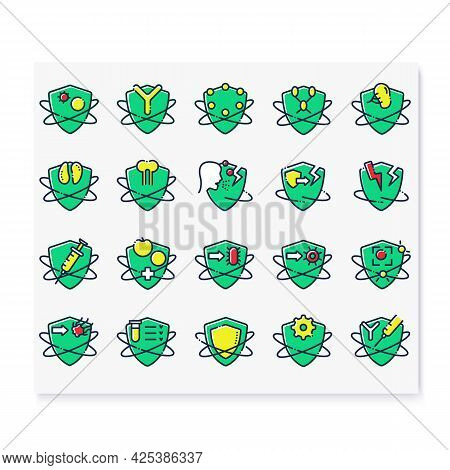 Immune System Color Icons Set. Health Care. Immunology Concept. Body Defence System. Health, Immunit