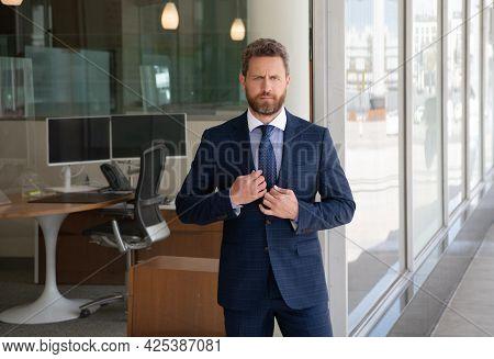 Mature Bearded Man Businessman In Businesslike Suit Outside The Office, Business