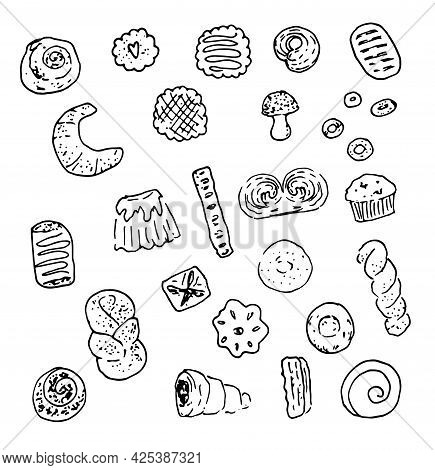 Vector Set Of Sweet Bakery Products. Isolated Black Contour Cookies, Dried, Buns With Poppy Seeds, W