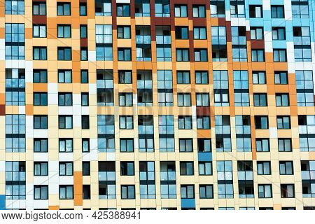 Multi-colored Facade Of A Multi-storey Building, View Of A Modern Colorful Residential Multi-storey