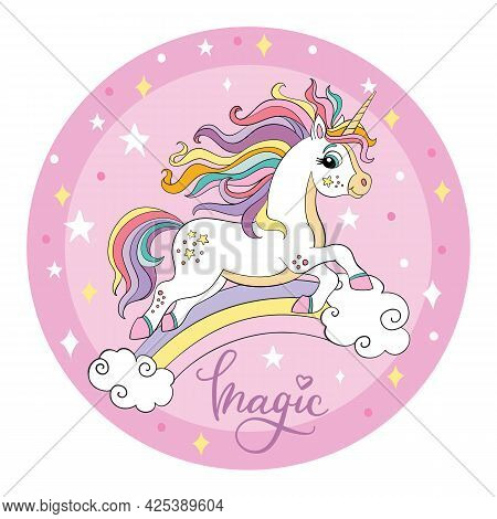 Cute Cartoon White Unicorn Runs On A Rainbow. Vector Illustration Circle Shape On Pink Background. F
