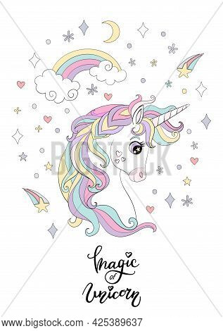 Cartoon White Unicorn With Rainbow And Cosmic Elements. Vector Vertical Llustration Isolated On Whit