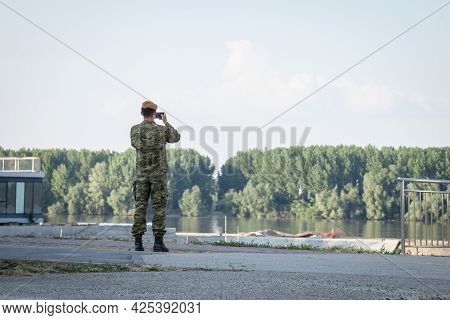 Vukovar, Croatia - May 11, 2018: Crotian Soldier, Male Croat, Infantry, Watching And Observing Croat
