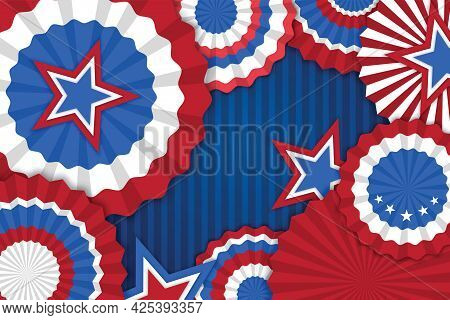 4th Of July Banner Vector Illustration. Independence Day, Us Flag With 4th Of July On Blue Backgroun