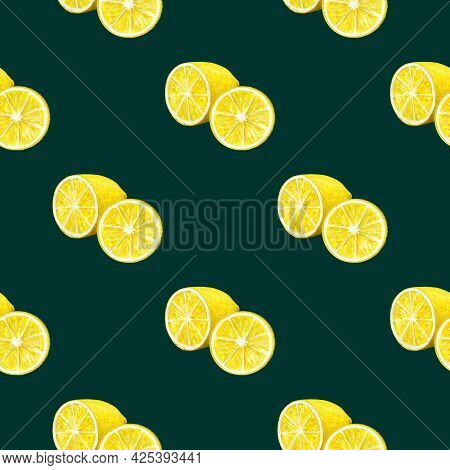Seamless Pattern With Watercolor Vintage Lemon Branches With Flowers And Fruits On Blue Background.
