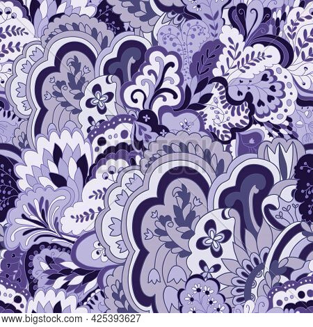 Organic Seamless Pattern With Original Plant Elements. Floral Seamless Background.