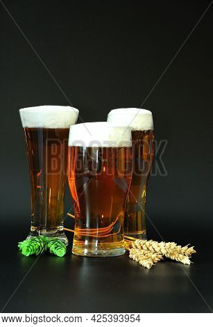 Three Different Glasses With Light Beer And Froth On Top, Barley Ears And Hops Next To Them On A Bla