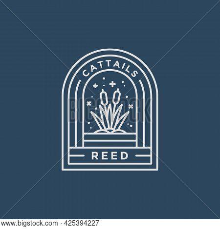 Cattail Reeds Minimalist Line Art Badge Logo Vector Illustration Design. Simple Modern Reed, River P