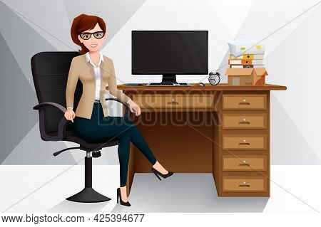 Business Woman Manager In Office Vector Design. Businesswoman Character Sitting In Work Place With C
