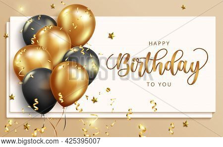 Happy Birthday Vector Banner Template. Happy Birthday To You Text In Whiteboard Space With Balloons
