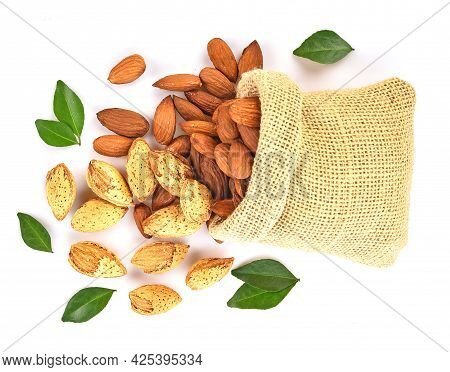 Top View Of Almond Isolated On White Background