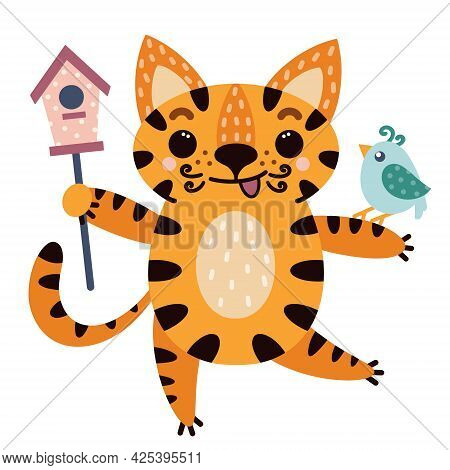 Cute Cartoon Striped Tiger. The Animal Holds A Birdhouse In Its Hands. The Cat Is Friends With The B