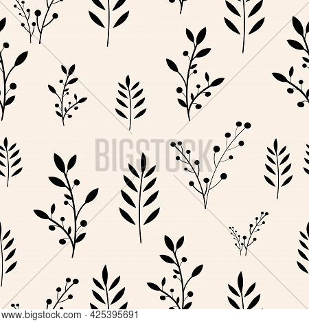 Seamless Floral Pattern Background, Vector Leaf Ornament, Hand Drawn Decorative Element, Seamless Ba