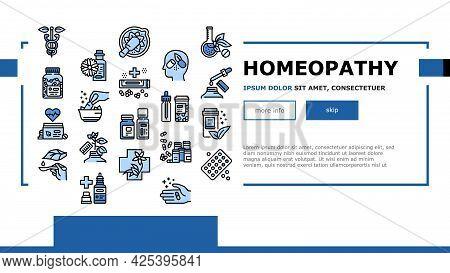 Homeopathy Medicine Landing Header Vector. Medicaments And Vitamins Prepared From Natural Bio Plant,