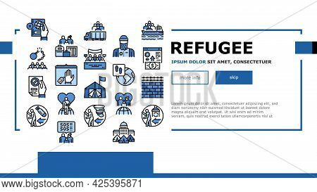 Refugee From Problem Landing Header Vector. Man And Family Refugee Escape From War And Hurricane, Wo
