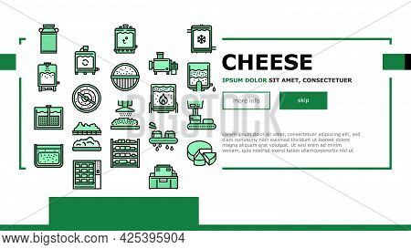 Cheese Production Landing Header Vector. Cheese Preparing Factory Industrial Equipment And Refrigera