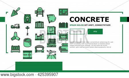 Concrete Production Landing Header Vector. Road And Foundation Concrete, Cement Bag And Spatula Tool