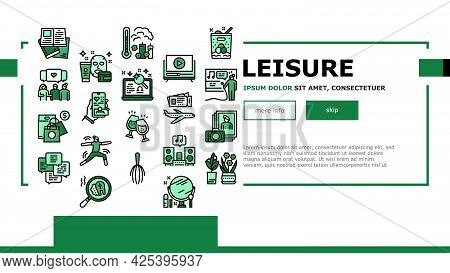 Womens Leisure Time Landing Header Vector. Karaoke And Yoga, Massage And Spa, Reading Books And List