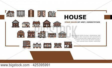 House Constructions Landing Header Vector. Townhome House And Mobile Home, Villa And Palace Building