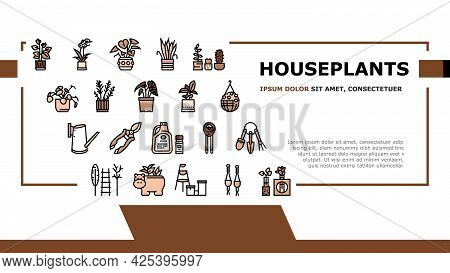 Houseplant Store Sale Landing Header Vector. Potting Houseplant And Cactus, Leaves Tree And Flower,
