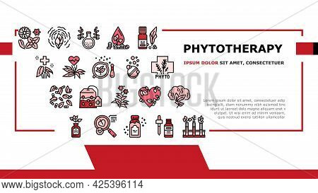 Phytotherapy Treat Landing Header Vector. Phytotherapy Medicaments From Flowers And Plant Natural In